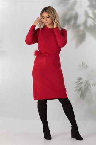 Rochie Arabella rosie cu buzunar accesorizat cu blanita