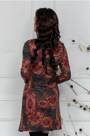 Rochie Aria antracit cu imprimeuri in nuante tomnatice