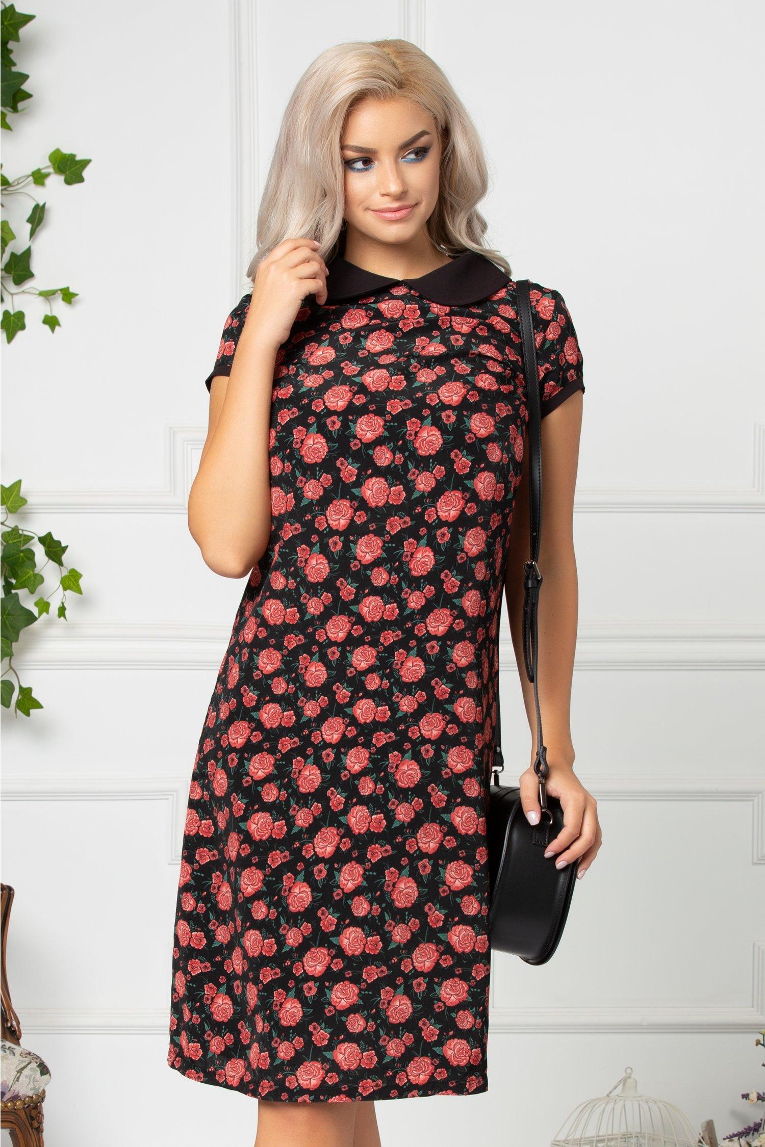 Rochie Aria casual neagra cu trandafiri rosii