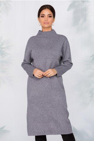 Rochie Aria gri din tricot cu dungi in relief