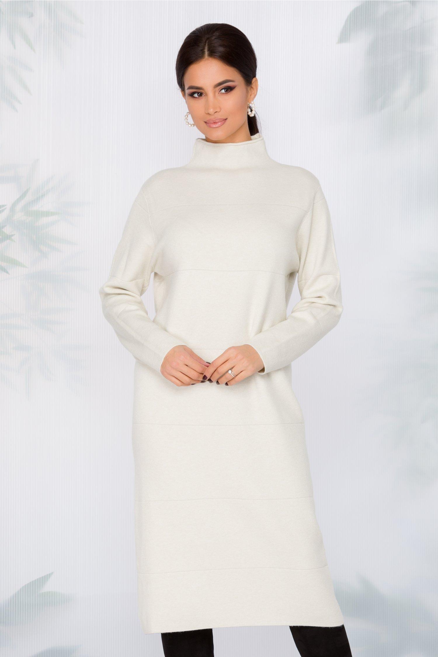 Rochie Aria ivory din tricot cu dungi in relief