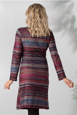 Rochie Aria multicolora cu imprimeu in nuante de mov