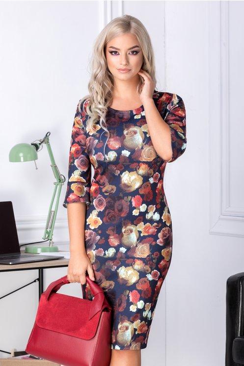 Rochie Ariadna bleumarin cu imprimeu cu trandafiri