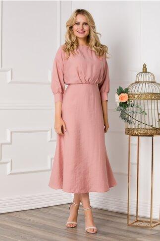 Rochie Ariadna midi roz pudra