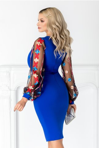 Rochie Ariana albastra cu maneci din tull brodat
