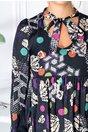 Rochie Ariana bleumarin cu buline si imprimeu divers
