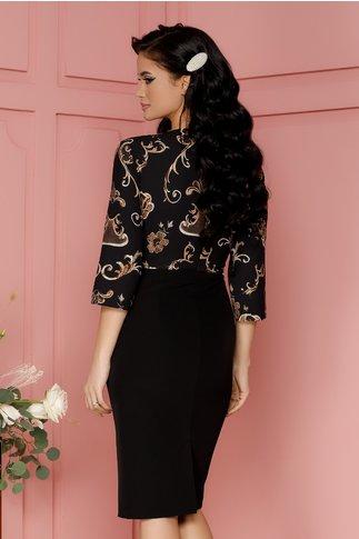 Rochie Ariana neagra cu imprimeu floral maro si peplum in talie
