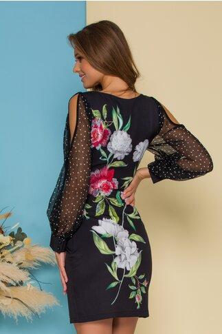 Rochie Ariana neagra cu imprimeuri florale si maneci din voal cu buline