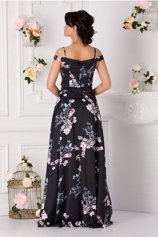 Rochie Ariana neagra lunga cu imprimeu floral