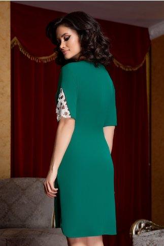 Rochie Ariana verde asimetrica cu broderie la maneci
