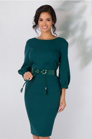 Rochie Ariana verde cu curea in talie