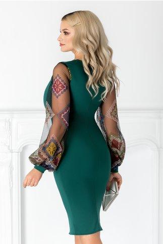 Rochie Ariana verde cu maneci din tull brodat