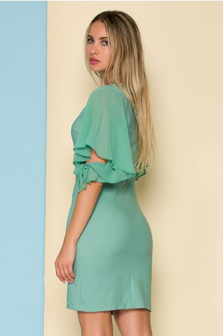 Rochie Ariana verde cu maneci vaporoase