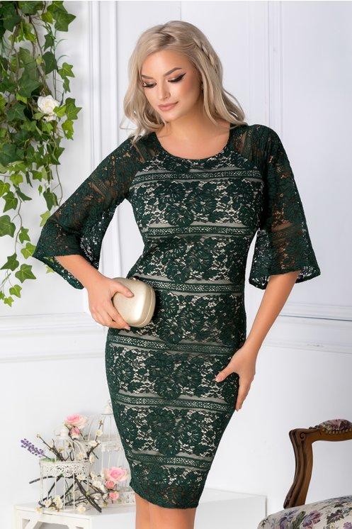 Rochie Ariana verde din dantela florala