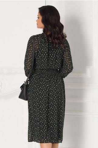 Rochie Ariana verde inchis cu buline maro