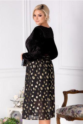 Rochie Arielle neagra cu detalii aurii
