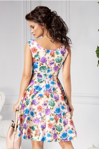 Rochie Aris clos crem cu flori colorate