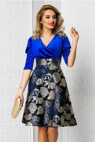 Rochie Aron albastra cu imprimeu floral bej