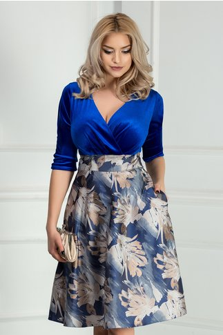 Rochie Aron albastra cu imprimeu floral crem