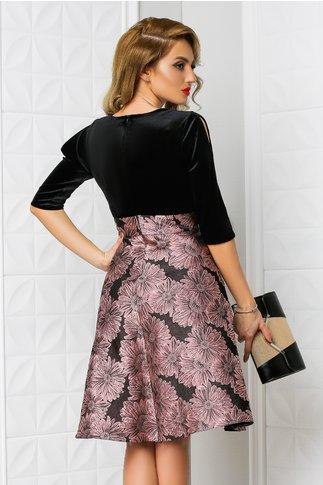 Rochie Aron neagra cu imprimeu floral roz