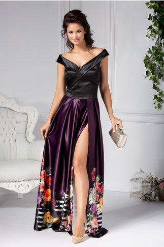 Rochie Artista Argus de seara negru si mov cu imprimeu floral
