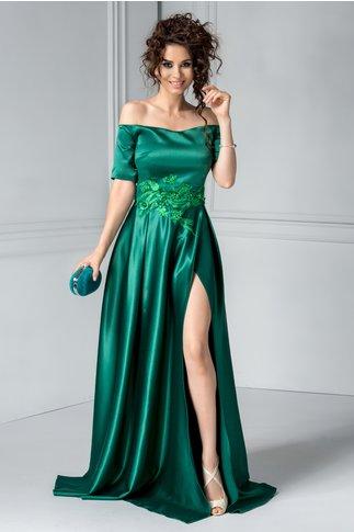 Rochie Artista Caius verde de seara cu broderie si perle