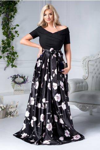 Rochie Artista Clemen neagra cu flori roz