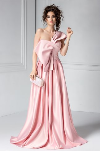 Rochie Artista Desya roz din tafta de seara