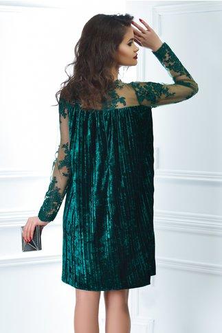 Rochie Artista Else verde din catifea plisata croi larg