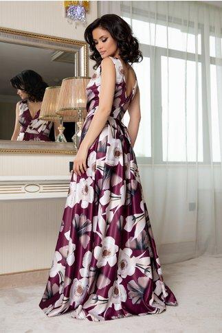 Rochie Artista magenta lunga cu imprimeu floral pastelat