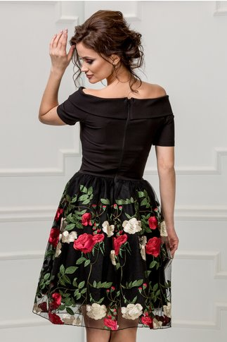 Rochie Artista neagra de banchet cu broderie florala