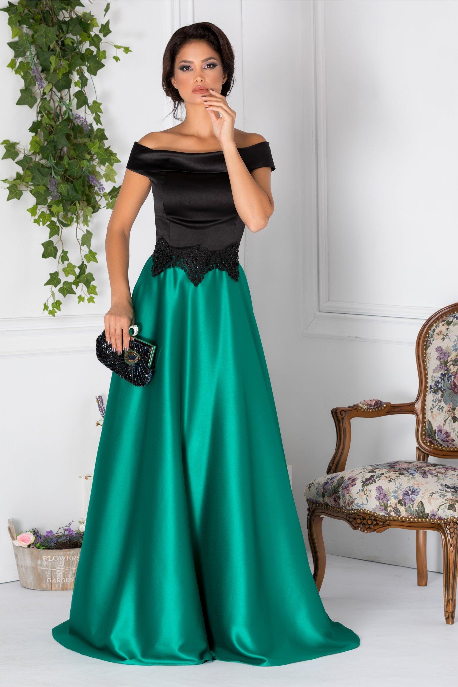 Rochie Artista Samia lunga verde si negru cu broderie