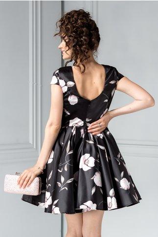 Rochie Artista scurta neagra de ocazie cu flori roze