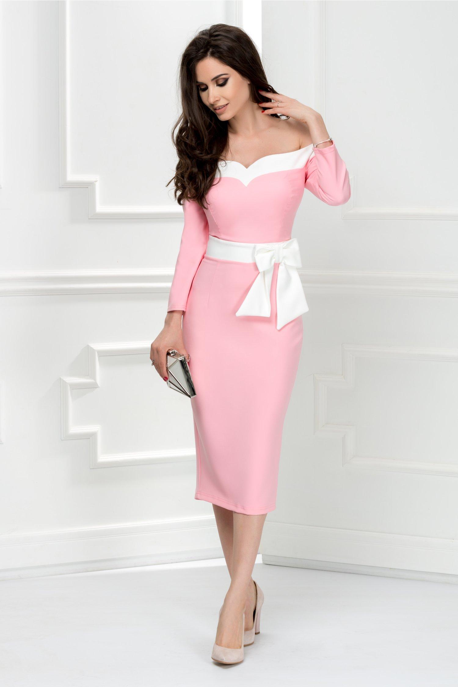 Rochie Artista Selah roz midi cu funda