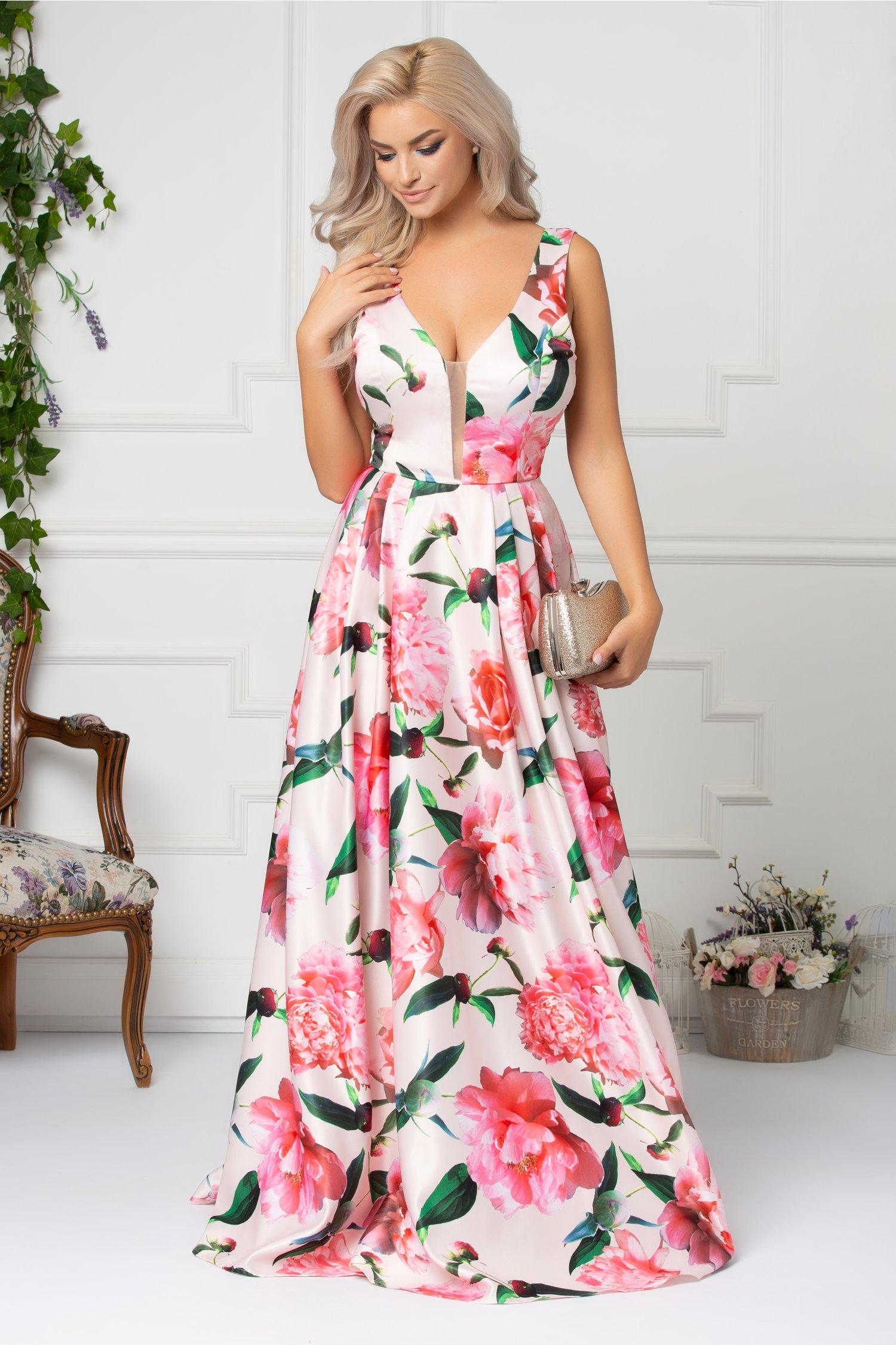 Rochie Artista Tina lunga roz pal cu imprimeu floral