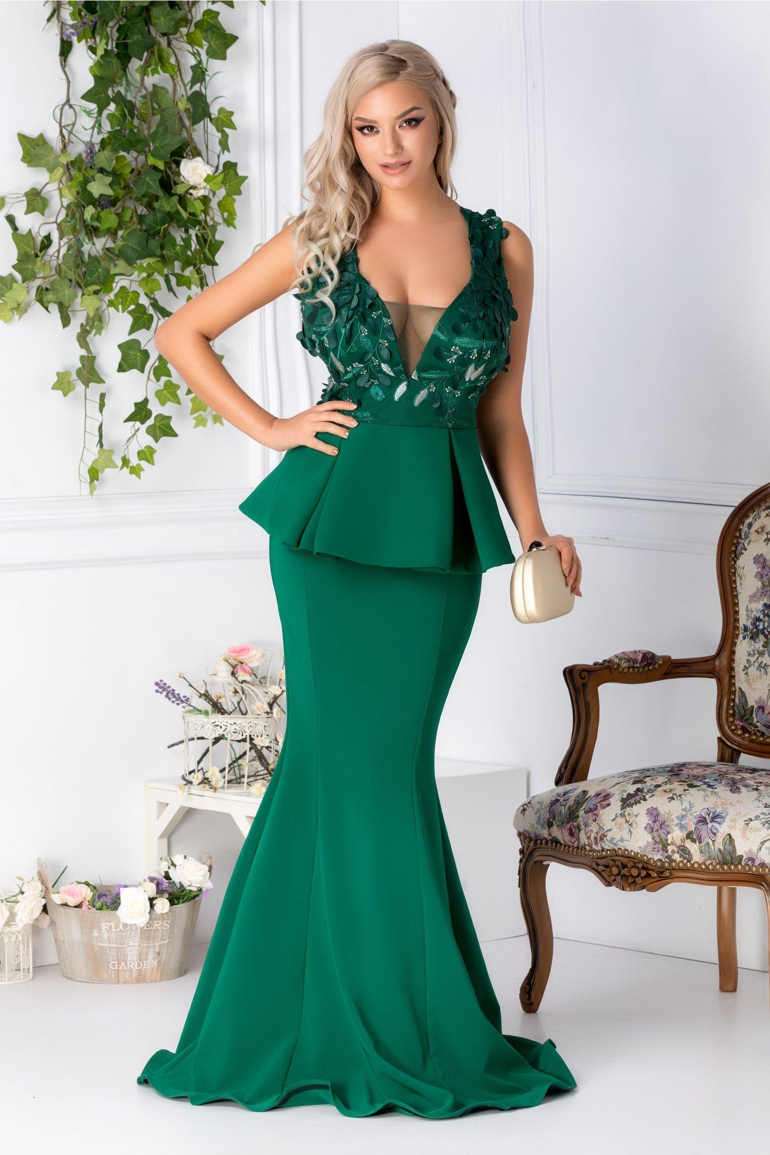 Rochie Artista verde lunga cu peplum si broderie 3D