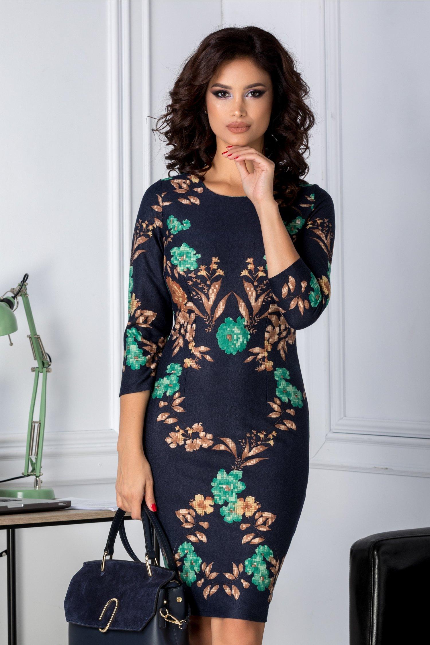 Rochie Arysa bleumarin cu imprimeu floral maro verde