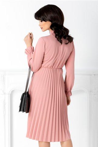 Rochie Asha roz midi plisata cu funda la guler