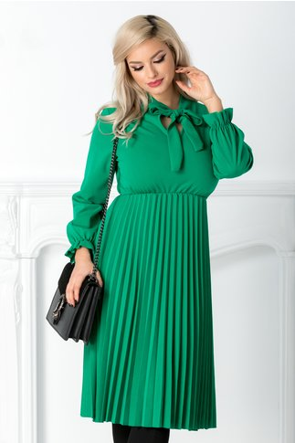 Rochie Asha verde midi plisata cu funda la guler