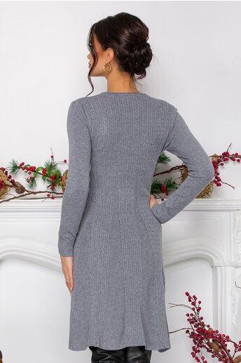 Rochie Asi evazata gri in tricot cu design impletit
