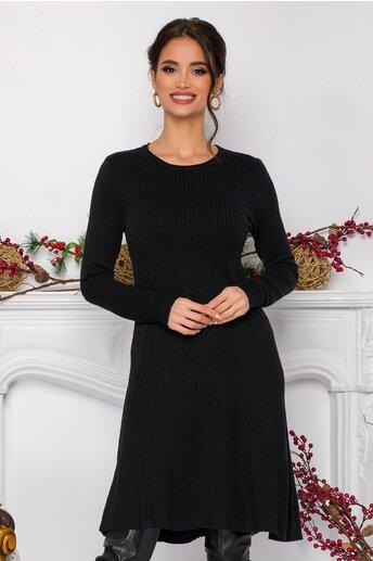 Rochie Asi evazata neagra din tricot cu design impletit