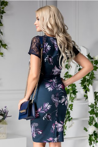 Rochie Asinette bleumarin cu imprimeuri violet