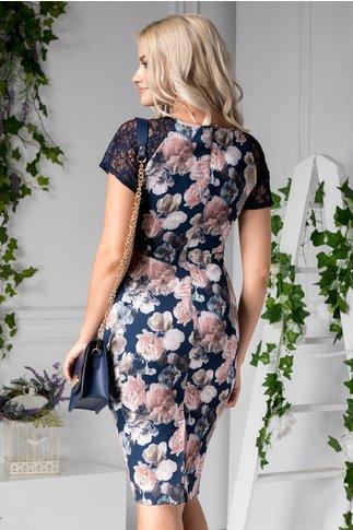 Rochie Asinette bleumarin de zi cu flori rose