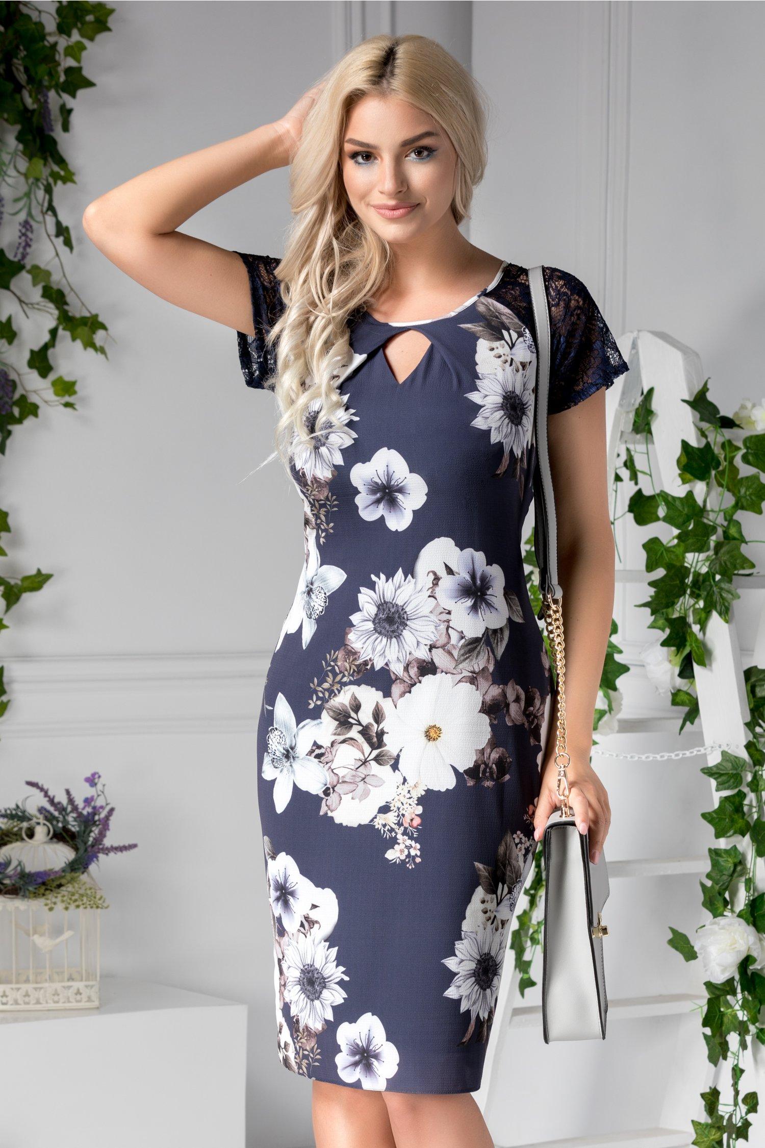 Rochie Asinette midi bleumarin cu flori albe mari