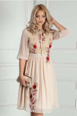 Rochie Asli bej cu broderie florala rosie