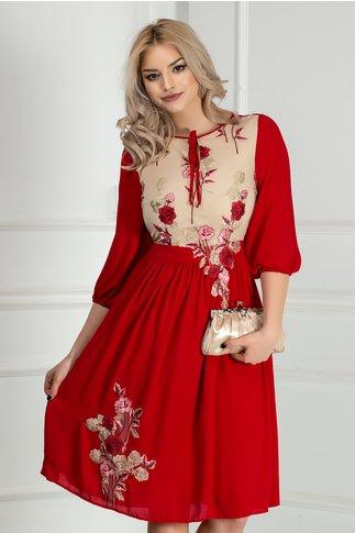 Rochie Asli rosie cu broderie florala rosie