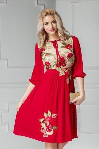 Rochie Asli rosie cu broderie florala rosie si verde