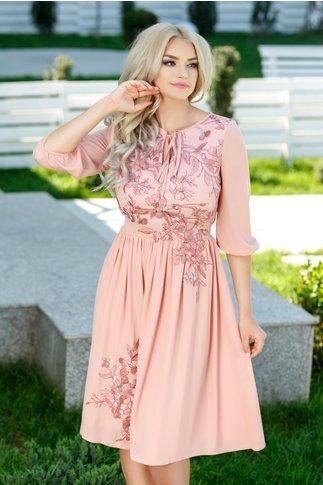 Rochie Asli roz coniac cu broderie