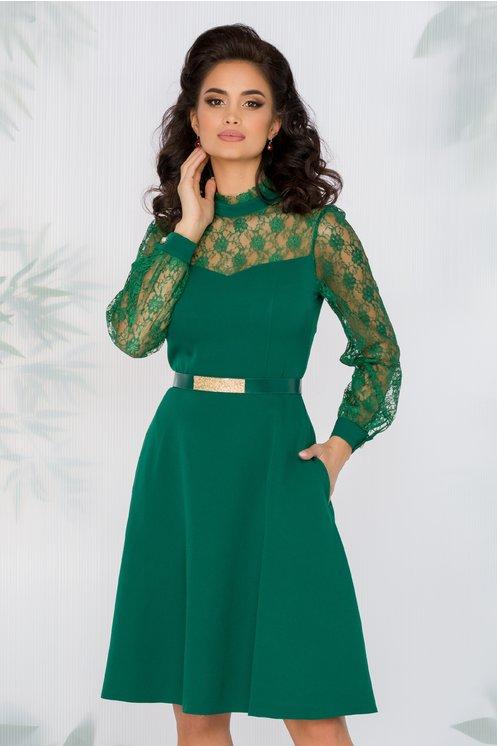 Rochie Astrid verde cu insertii din dantela