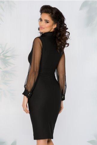 Rochie Athira neagra cu maneci lungi din tull si nasturi decorativi tip bijuterie